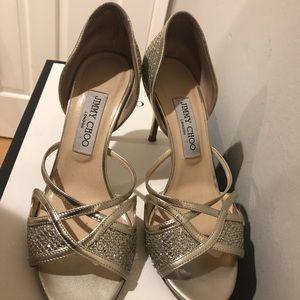 Jimmy Choo Gold Glitter High Heels US Women Size 8